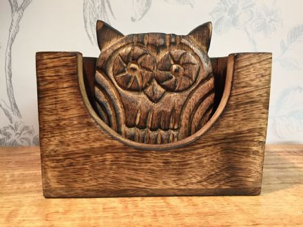 Mango Wooden Owl 4 Piece Hand Carved Coaster Set & Cradle